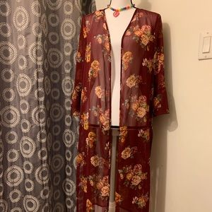 Crave Fame Maroon Sheer Duster